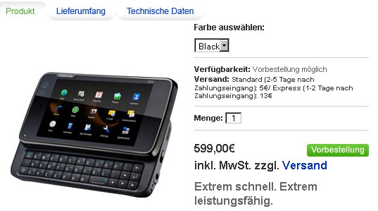 n900 preorder germany Nokia N900   pre ordering starts in Germany and Italy