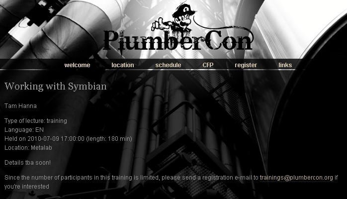 tam hanna plumbercon Want to learn about Symbian? Come to PlumberCon 2010 in Vienna