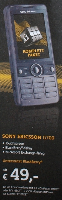 detail Sony Ericsson G700 for sale at Austrian carrier A1