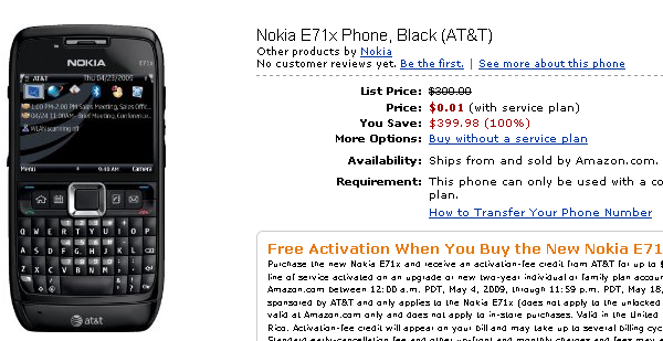 free e71x AT&T Nokia E71x   free with contract