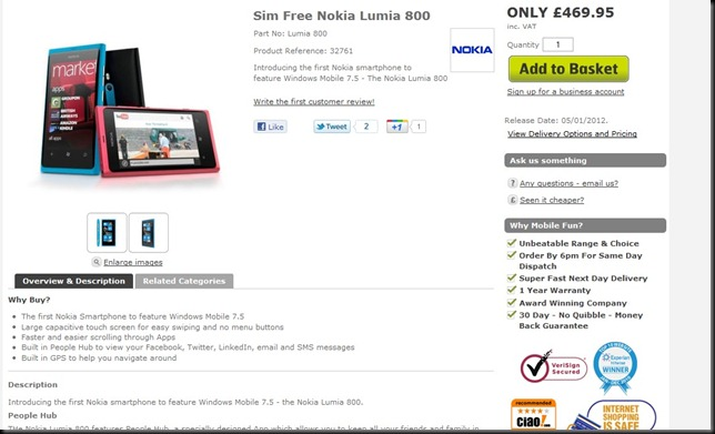 lumia priced thumb Nokia Lumia 800 prices revealed