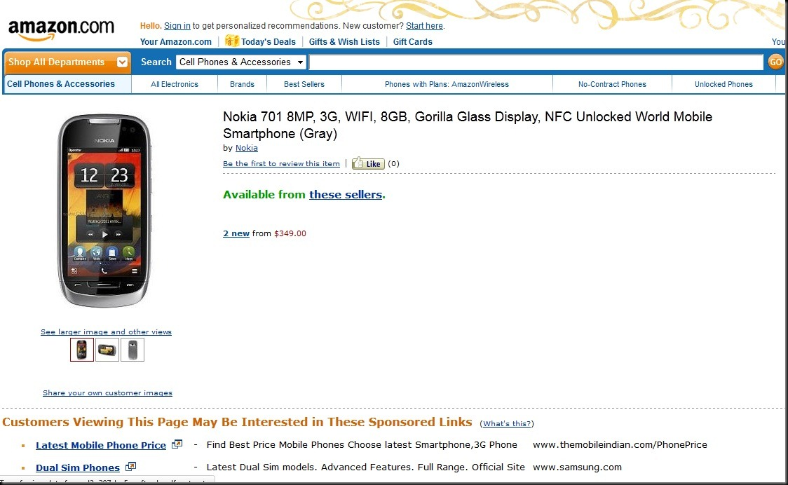 amazon 701 thumb Unlocked Nokia 701 selling at Amazon.com for $349